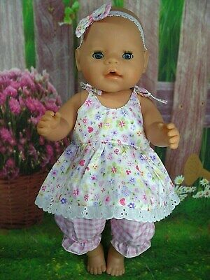 """Dolls clothes for17"""" Baby Born~Cabbage Patch Doll~PASTEL FLORAL STRAP DRESS SET"""
