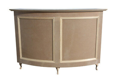 Medium Curved Reception Desk, Salon-French Style Shabby Chic - unpainted