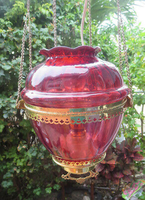 Antique Cranberry Glass Shade Pendant Pulley Chandelier Ceiling Hall Light Lamp