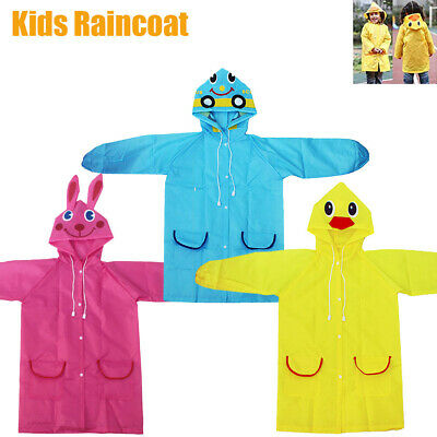 Kids Children Raincoat Girls Boys Rain Coat Yellow Blue Pink Cute School Outdoor