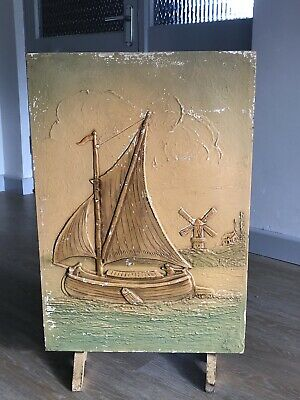 Vintage  Painted Firescreen Antique 1920s 1930s Original Art Ship Dutch Style