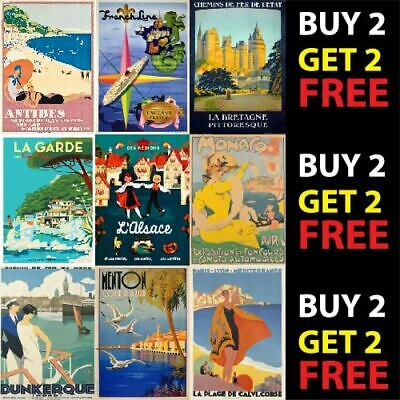 VINTAGE FRANCE FRENCH TRAVEL TOURISM POSTER PRINTS A4/A3/A2 300gsm WALL ART DECO