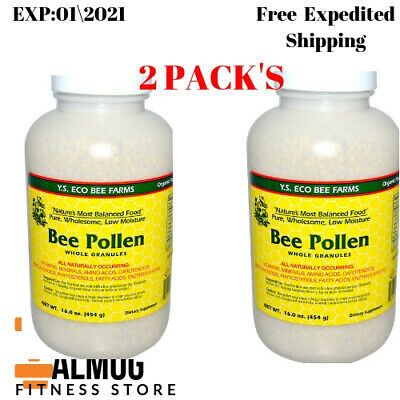 2 Pack's YS Eco Bee Farms Low Moisture Bee Pollen Whole Granules 16 oz