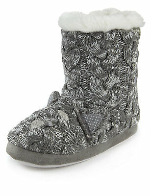 BNWT M&S Faux Fur Trim Sparkly Silver Knitted Boot Slippers Christmas Gift uk 12