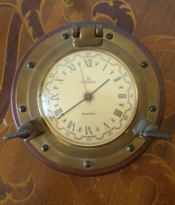 SCANDEX Quartz Marine Ships Wall Clock MILITARE OROLOGIO SOLID BRASS NAUTICAL