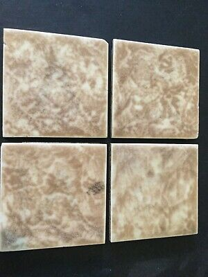 4 Antique Vintage Tiles  Wall Or Fireplace Wades England Mottled Brown