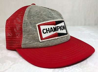 VTG 70's 80's Champion Spark Plug Mesh Sewn Patch Trucker Snapback Racing Hat
