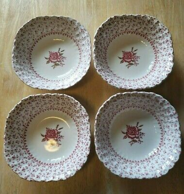 Vintage Johnson Brothers England Rose Bouquet Square Cereal Soup Bowl Set of 4