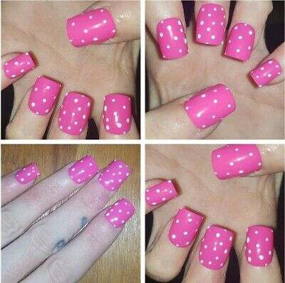 SHORT SQUARE False Nails GLOSSY Bright Pink Polka Dot X 20 Nails