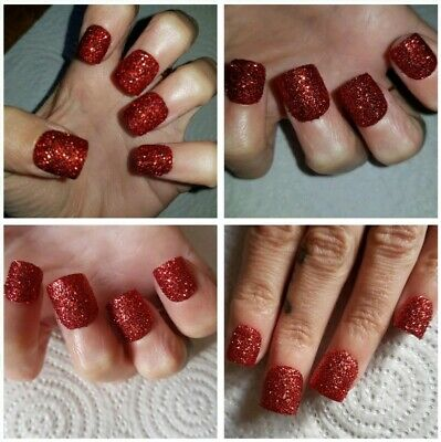 SHORT SQUARE Party Nails Red Glitter Nails X 20 Nails