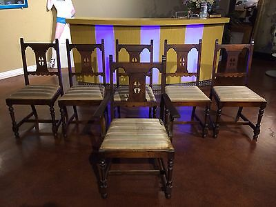 Antique Set of 6 Sikes Chairs Co. Including Captain Chair. Buffalo New York, USA