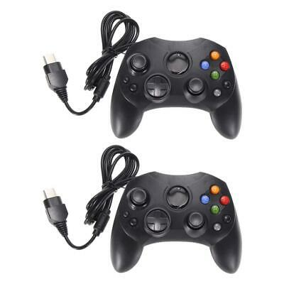 2pcs Dual Original Controller Wired Game Pad For Microsoft XBOX System Black UK