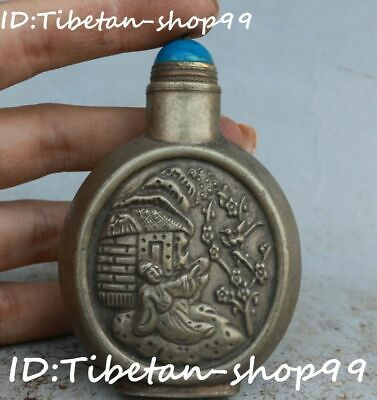Tibetan Silver Plum Blossom Flower House Old Man People Snuff Box Bottle Pot Jar