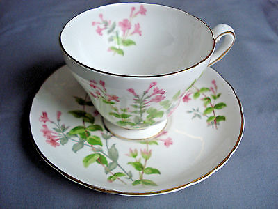 Tuscan Bone China Footed Cup and Saucer Pink Flowers England Vintage Hand Panted