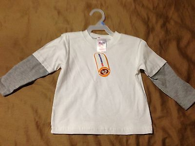 NWT Kid Connections Toddler White Long Sleeve Crew Tee Shirt, Size 24 Months