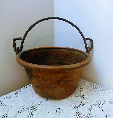 Large Vintage Antique Hammered Copper Pot, Bucket, Planter w/Forged Iron Handle