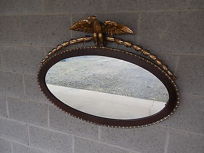 "Antique Mahogany Federal Style Eagle Crested Mirror 35""W x 25""H"