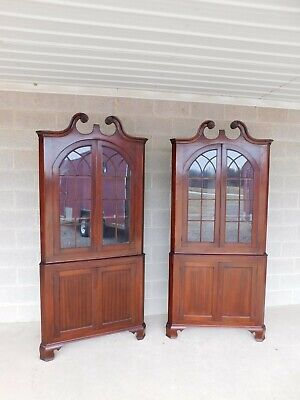 Antique Mahogany Chippendale Style Corner Cabinets - a Pair