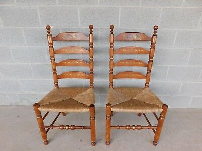 L HITCHCOCK Harvest Stenciled Ladder Back Rush Bottom Chairs - a Pair