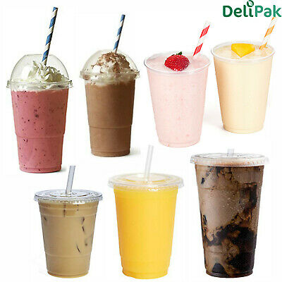 Disposable Smoothie Cups Domed Lid Flat Slot Lids Clear Plastic Party Straws