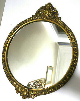 "Vintage Round Gilt Gold Wood Hollywood Regency Wooden Wall Mirror 19"" x 15.5"""