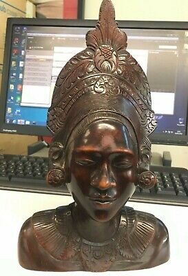Bali balinese carved wooden woodexotic lady figure bust 12in tall exquisite