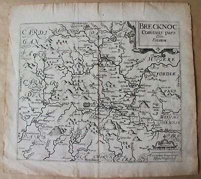 Original Antique Map of Brecknockshire by Christopher Saxton & William Kip 1610