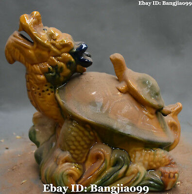 """8"""" China Old Tang San Cai Porcelain Fengshui Water Dragon tortoise Turtle Statue"""