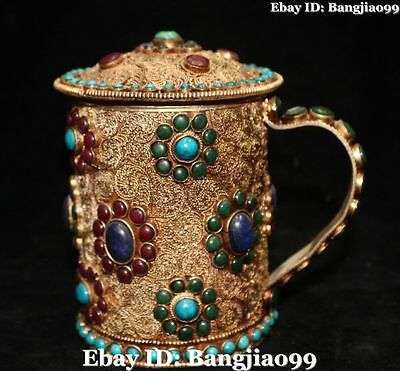 Rare Chinese Filigree Bronze Gold Gilt Inlay Gem Teacup Handle Drink Cup Statue
