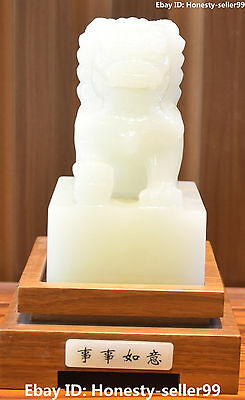 China Natural White Jade Handwork Carving Lion Leo Ball Seal Stamp Signet Statue