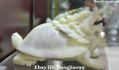 Chinese Pure Natural Green Jade Fengshui Dragon Tortoise Turtle Animal Statue