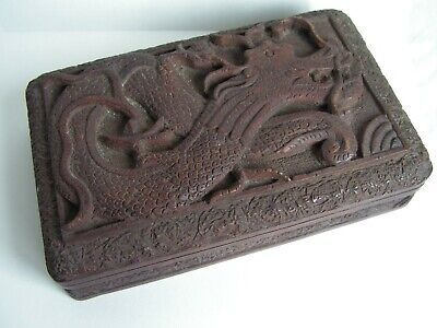 Chinese Vintage Carved Dragon Wooden Trinket Box