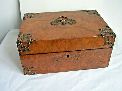 Antique Victorian Gothic Revival Burl Walnut Jewellery Sewing Box Restoration