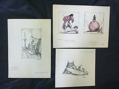 VERY RARE Antique book illustration art signed pen ink drawing Gullivers travels