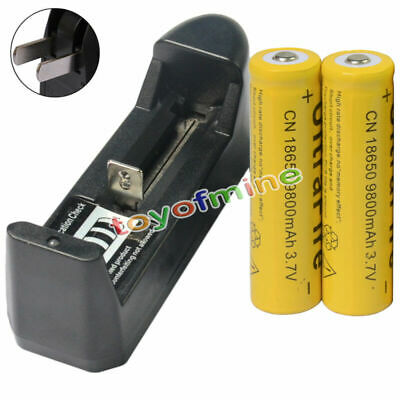 2pcs 18650 3.7V 9800mAh Li-ion Rechargeable Battery cell for LED Torch + Charger