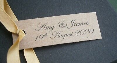 Personalised Wedding Favour Gift Tags Cards - Brown Rustic Kraft - Any Message