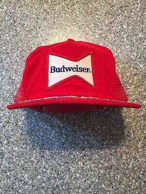 Vintage Mens Budweiser Beer Red Corduroy Snap Back Hat One Size Americana