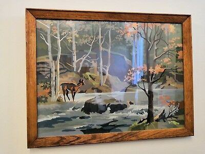 Retro 1960s Mid Century Paint By Number Oil On Board Deer Autumn Woodland Kitsch