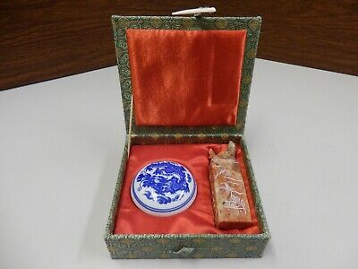 Vintage Chinese Sealing Wax Set Rooster Stamp with Fabric Box