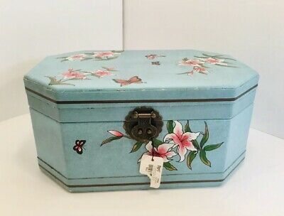 Pier One Imports Blue Floral Butterfly Asian Interior Mirror Hinged Jewelry Box