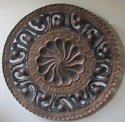 26' Antique bronze wall Decorative plate all handmade and engraved with leaves
