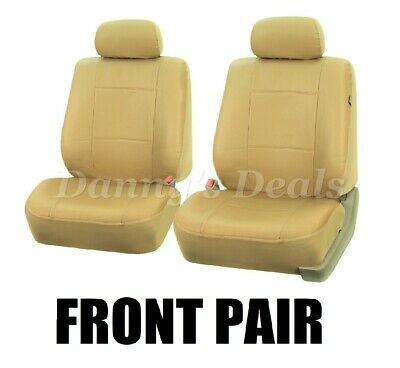 Front Beige Cream Leather Look Car Seat Covers For Ferrari 488 Spider 2016 On