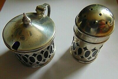 Antique Silver Plate Mustard And Pepper Pot With Blue Glass Liners.