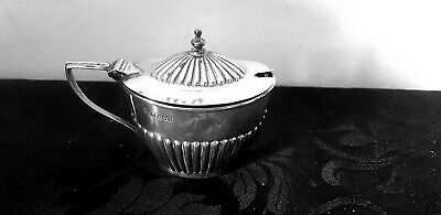 Large Solid Silver Mustard Pot