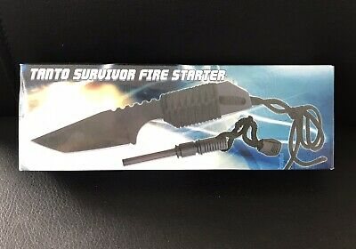 "7"" FULL TANG FIRE STARTER SURVIVAL HUNTING CAMPING KNIFE Tanto Outdoor Black"
