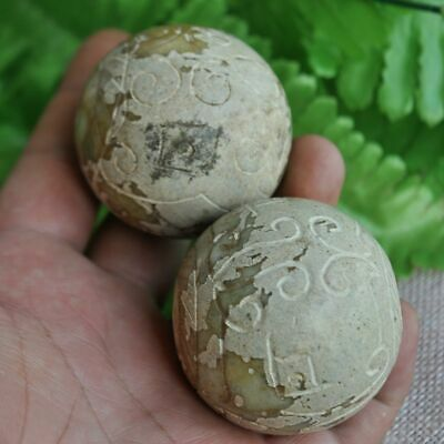 Chinese ancient old hard jade hand-carved pendant necklace ~Fitness ball