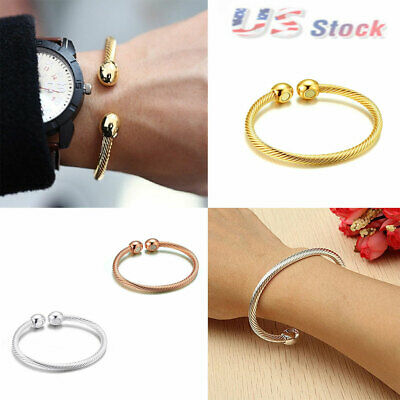 US Unisex Copper Magnetic Bracelet Therapy Arthritis Pain Healing Bangle Cuff
