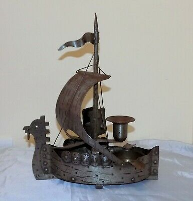 Arts & Crafts Jugendstil Mission Goberg Viking Ship Candlestick / Smokers Set