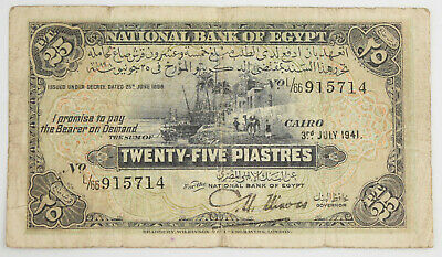Egypt 1941 25 Piastres Banknote Currency VG/Fine Pick #10C Banks of the Nile