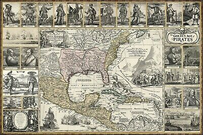 GOLDEN AGE OF PIRATES Historic Art Map Poster. Swashbuckling vintage engravings
